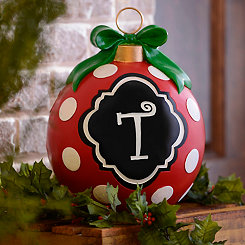 Red Polka Dot Monogram T Ornament Statue