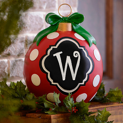 Red Polka Dot Monogram W Ornament Statue