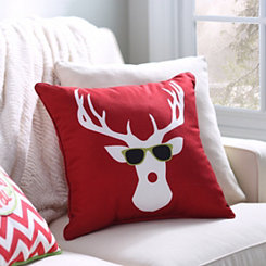 Reindeer with Sunglasses Pillow