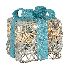 Pre-Lit Iced Turquoise Gift Box, 6 in.