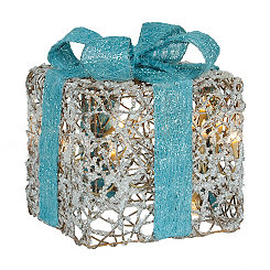 Pre-Lit Iced Turquoise Gift Box, 8 in.