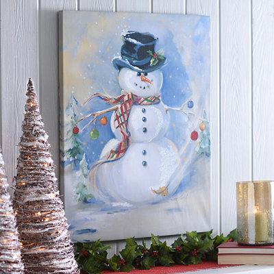 Believe in the Magic Snowman Canvas Art Print