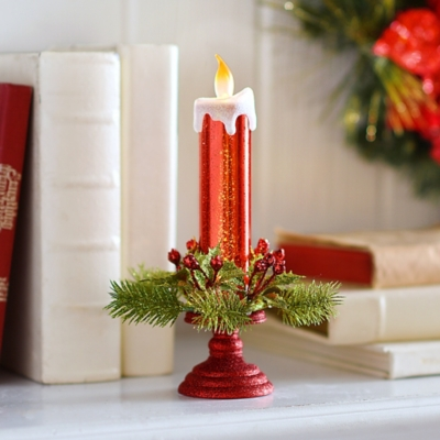 Glittered Red LED Candle with Holly