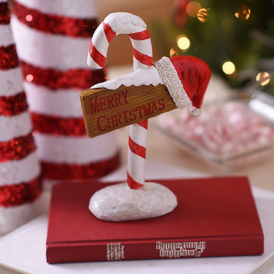 Candy Cane Sign Statue