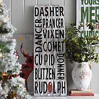 Rustic Reindeer Names Wooden Sign