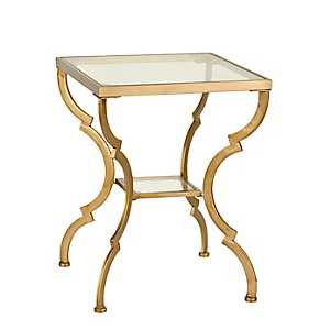 Metal and Glass Gold Geometric Accent Table