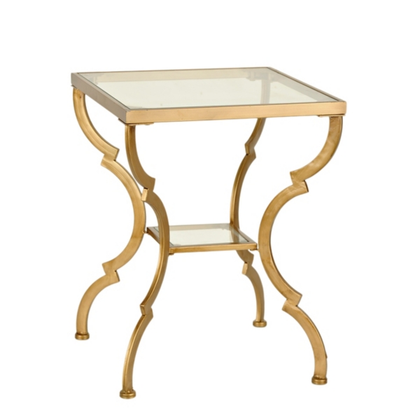 mirror ogee side table metal and glass gold geometric accent table