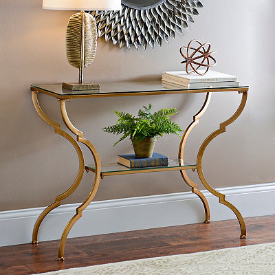 Geometric Gold Glass Console Table