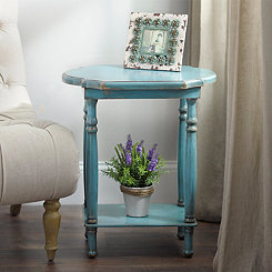Rectangle Turquoise Scalloped Accent Table