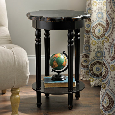 Round Black Scalloped Accent Table