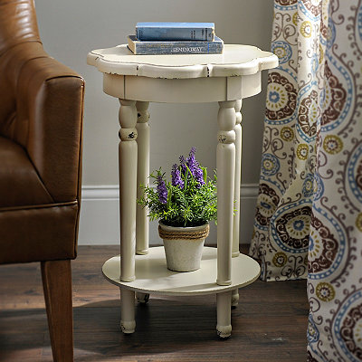 Round Ivory Scalloped Accent Table