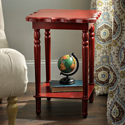 Square Red Scalloped Accent Table