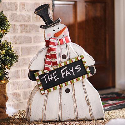 Chalkboard Snowman Wooden Statue
