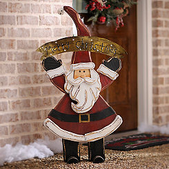 Merry Christmas Santa Wooden Statue