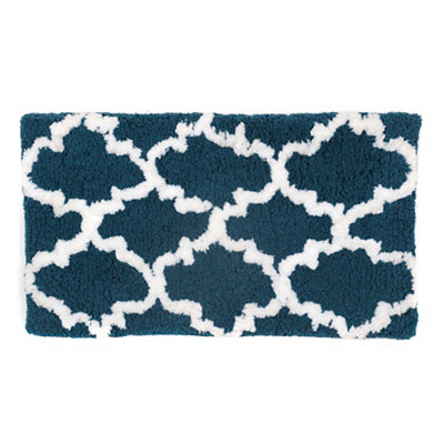 Teal and White Heavenly Bath Mat