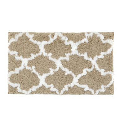 Tan and White Heavenly Bath Mat