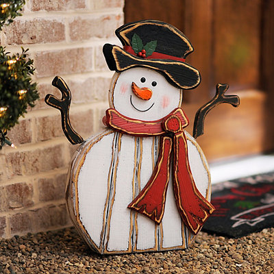 Distressed Wooden Snowman Statue