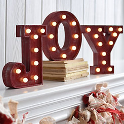 Pre-Lit Joy Sign, Set of 3