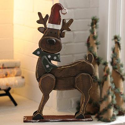 Rustic Wood Reindeer Statue
