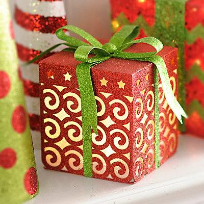 Pre-Lit Glittered Red Swirls Gift Box, 9 in.