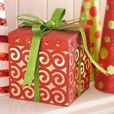 Pre-Lit Glittered Red Swirls Gift Box, 13 in.