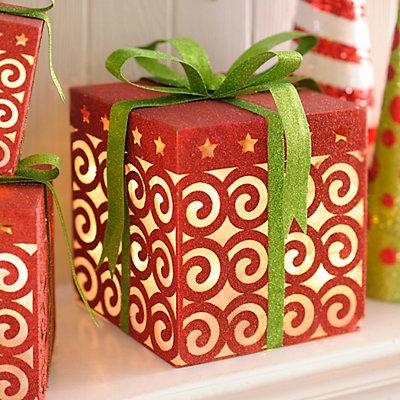 Pre-Lit Glittered Red Swirls Gift Box, 15.75 in.