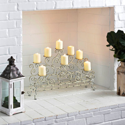 Antique White Double Fireplace Candelabra