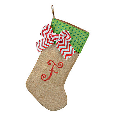 Burlap Monogram F Stocking
