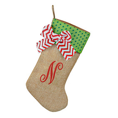 Burlap Monogram N Stocking