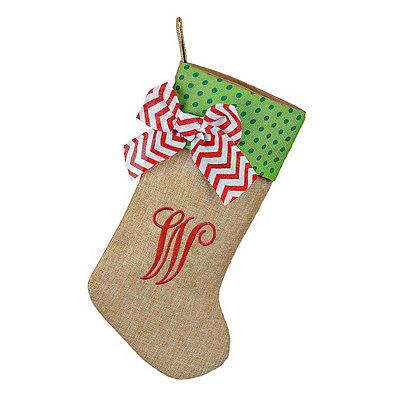 Burlap Monogram W Stocking