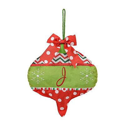Holly Jolly Monogram J Ornament Wall Hanger