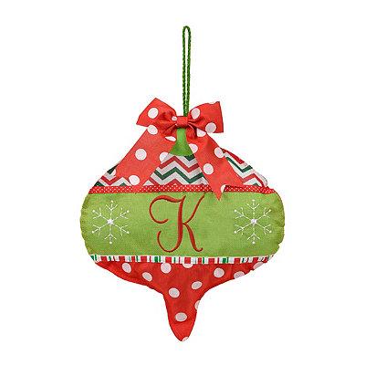 Holly Jolly Monogram K Ornament Wall Hanger