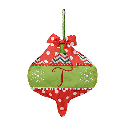 Holly Jolly Monogram T Ornament Wall Hanger