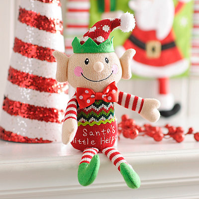 Santa's Little Helper Elf Plush Sitter