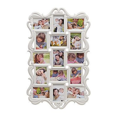 White Ornate Scroll 15-Opening Collage Frame