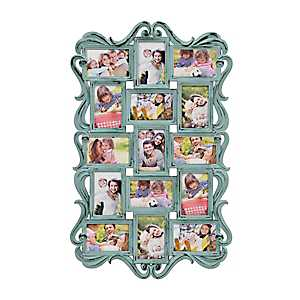 Turquoise Ornate Scroll 15-Opening Collage Frame