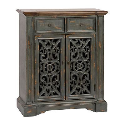 Antique Blue Scroll Cabinet