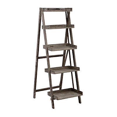 Weathered Gray 5-Tier Ladder Shelf