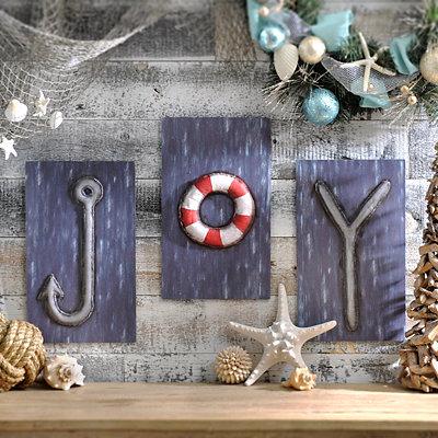Joy Coastal Plaques, Set of 3