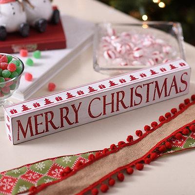 Glittered Merry Christmas Word Block