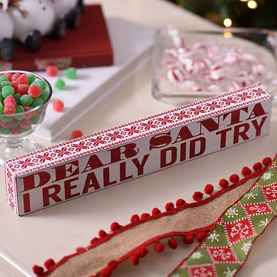 Glittery Dear Santa Word Block