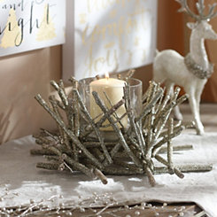Glittered Champagne Twig Candle Holder, 12 in.