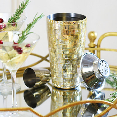 Gold Mosaic Cocktail Shaker