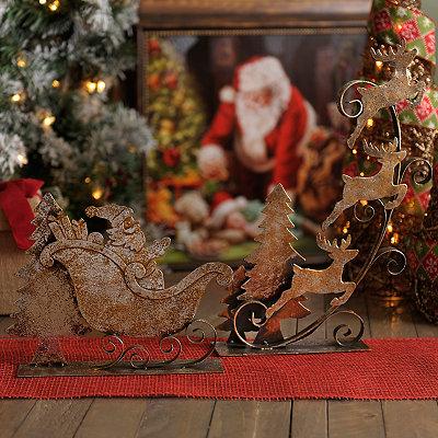 Metal Santa and Reindeer Statues, Set of 2