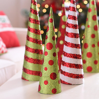 Glittered Red Dots Cone Tree, 20 in.