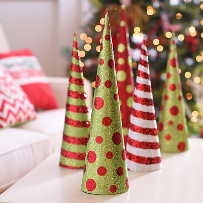 Glittered Red Polka Dots Cone Tree, 24 in.