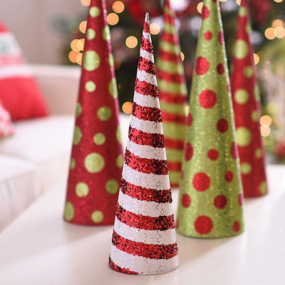 Glittered Red & White Stripe Cone Tree, 20 in.