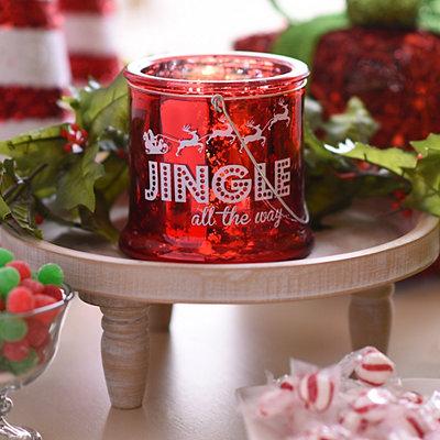 Jingle All the Way Red Mercury Glass Lantern