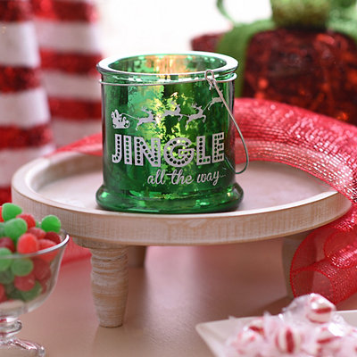 Jingle All the Way Green Mercury Glass Lantern