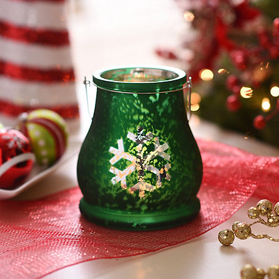 Snowflake Green Mercury Glass Lantern